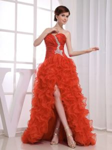 High Slit Ruffles and Beading Decorate Sweetheart Prom Dress Ruched