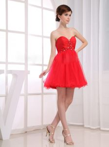 A-line Mini-length Sweetheart Red Prom Dress with Beading and Ruche