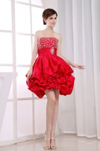 Mini-length Strapless Pick-ups and Beading Prom Dress in Coral Red