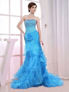Mermaid Aqua Blue Strapless Prom Dress with Beading and Ruffles