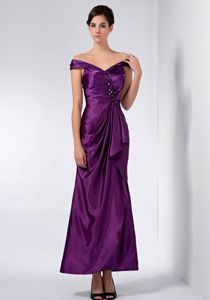 Eggplant Purple Off the Shoulder Ankle Length Prom Dress Beaded