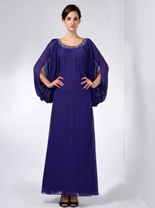Long Sleeves Scoop Neck Ankle Length Beaded Purple Prom Dress