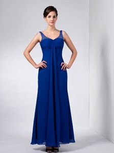 Chiffon Royal Blue V-neck Column Prom Dress with Beaded Straps