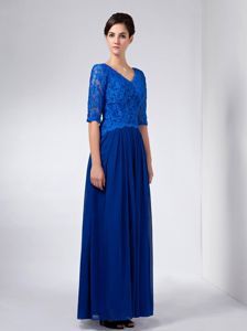 Half Sleeves V-neck Floor Length Royal Blue Lace Prom Dress 2014