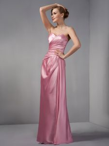 Rose Pink Column Prom Dresses in Floor-length with Ruching in Medina