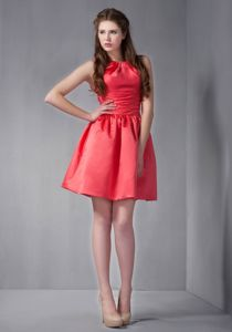 Red Scoop Mini-length Prom Gown Dresses with Ruches in Morgan Mill