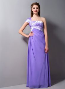 Romantic One Shoulder Floor-length Prom Attire in Purple with Appliques