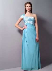 Nice Aqua Blue One Shoulder Prom Outfits in Floor-length with Appliques