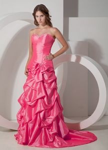 Best Ruffled Coral Red Sweetheart Prom Gown Dresses with Brush Train