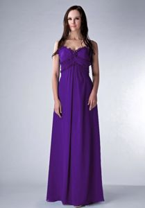 Chiffon Ruched Straps Purple Prom Dresses in Floor-length in Nolanville