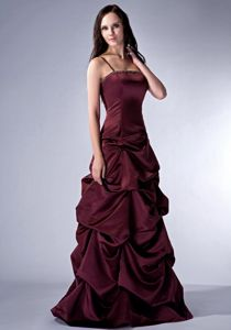 Burgundy Spaghetti Straps Floor-length Prom Gown with Ruffles in Odem