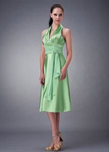 Halter Top Prom Gown Dresses in Spring Green with Beading in Mumford