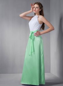 Green and White Bateau Floor-length Dress for Prom with Sash in McLean