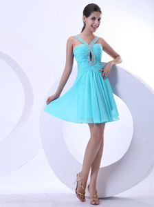 Blue Ruched V-neck Mini-length Prom Gown Dress with Beading in Klein