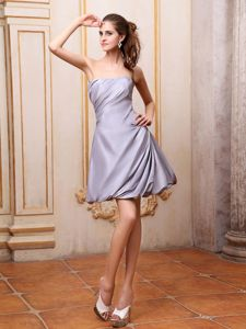 Simple Silver Strapless A-line Prom Dresses in Mini-length in Jourdanton