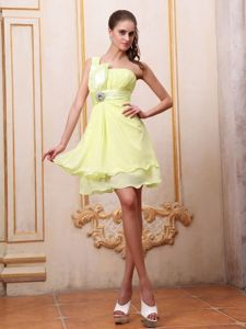 One Shoulder Mini-length Prom Gown Dresses in Yellow with Ruching