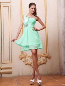 Apple Green One Shoulder Mini-length Prom Gown with Ruches in Kirby