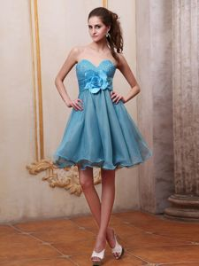 Beaded Sweetheart Short Prom Gown Dress in Blue with Flower in Iredell