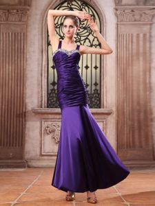 Beaded and Ruched Purple Mermaid Prom Gown in Ankle-length in Hico