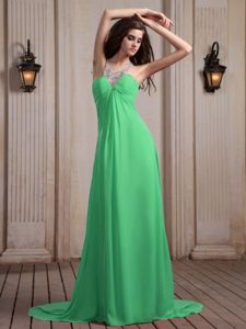 Spring Green Halter Top Empire Prom Dress with Brush Train in Hearne