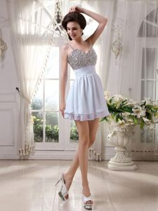 Spaghetti Straps Mini-length White Prom Attires with Beading in Goliad