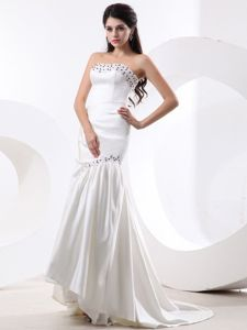 White Strapless Mermaid Dresses for Prom with Brush Train and Beading