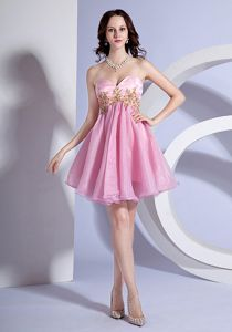 Sweetheart Mini-length Prom Gown Dress in Pink with Appliques in Euless