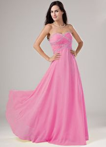 Baby Pink Sweetheart Floor-length Prom Dresses with Beading in Granbury