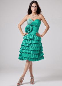 Luxurious Ruffled Prom Dresses in Turquoise with Sweetheart and Flowers