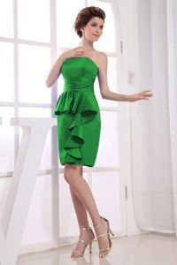 Strapless Mini-length Dress for Formal Prom in Green with Ruches in Evant