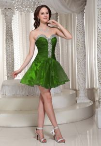 Special Organza Ruched Peacock Green Short Prom Outfits with Sweetheart
