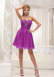 Sweetheart Mini-length Dress for Prom in Fuchsia with Ruches and Beading