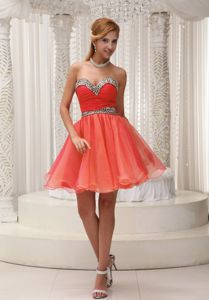 Orange Red Sweetheart Mini-length Prom Gown with Beading and Ruching