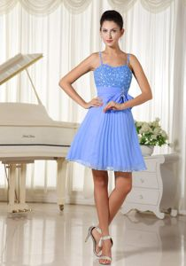 Blue Pleated Mini-length Prom Gowns with Spaghetti Straps in Crosbyton
