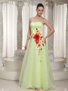 Sweetheart Princess Yellow Green Prom Gowns with Hand Made Flowers