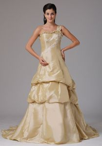 Champagne One Shoulder Court Train Prom Dress with Appliques in Dodge