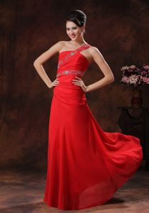 One Shoulder Column Prom Gown Dress in Red with Ruching and Beading