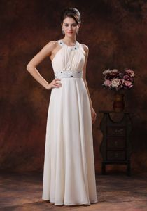 White Scoop Floor-length Dress for Prom with Criss-cross Back in Celina