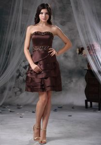 Cheap Brown Strapless Mini-length Prom Dress with Beading and Ruching