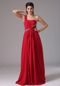 One Shoulder Floor-length Red Prom Dresses with Ruches in Duncanville