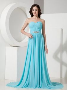 Turquoise Ruched Sweetheart Dress for Formal with Court Train in Follett