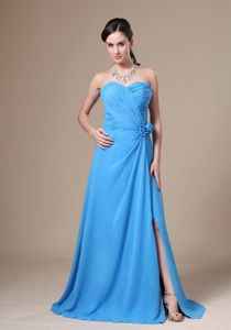 Aqua Blue Sweetheart Floor-length Prom Dress with High Slit and Flowers