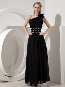 One Shoulder Empire Ankle-length Black Dresses for Prom with Beading