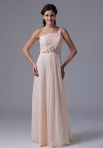 One Shoulder Floor-length Prom Gowns in Baby Pink with Ruches in Edna