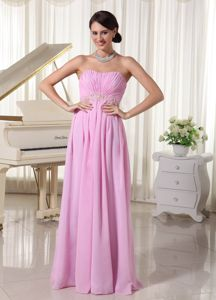 Baby Pink Strapless Floor-length Prom Dresses with Ruches in Goldthwaite