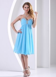 Sky Blue Sweetheart Dress for Prom in Knee-length with Beading in Howe
