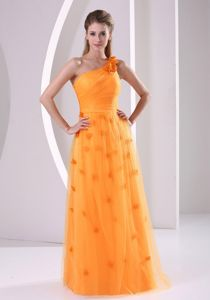 Orange One Shoulder Floor-length Prom Attires with Hand Made Flowers