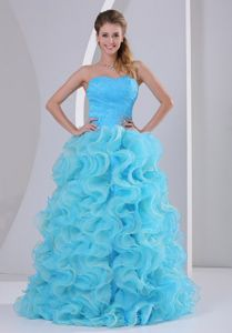 Aqua Blue Sweetheart Floor-length Prom Outfits with Ruffles and Beading
