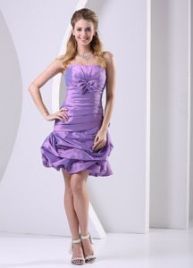 Taffeta Lavender Strapless Short Dresses for Prom with Ruches and Ruffles