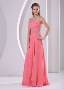 Sweetheart Beaded Column Floor-length Prom Gown Dress in Watermelon